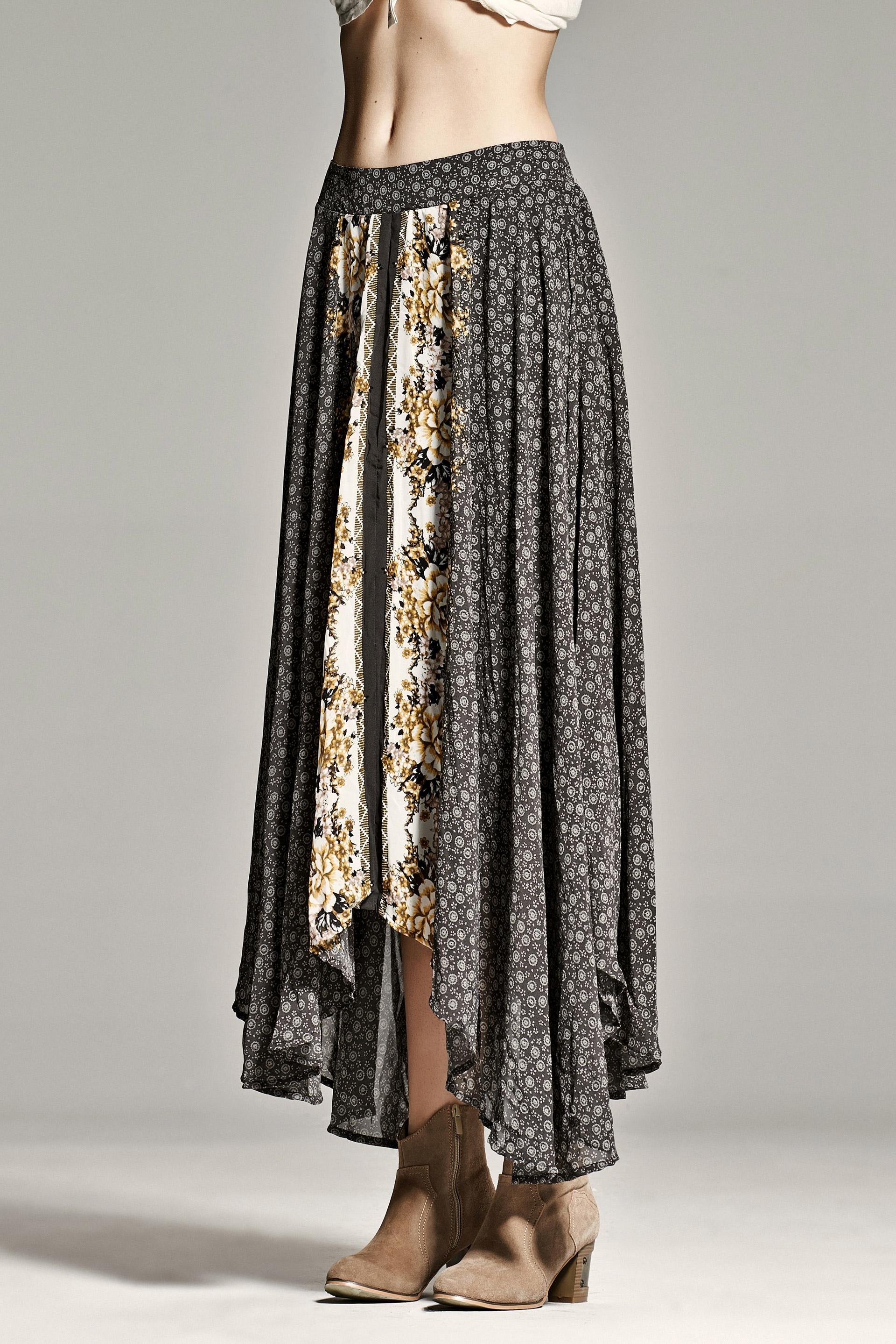 黑白拼接半身裙