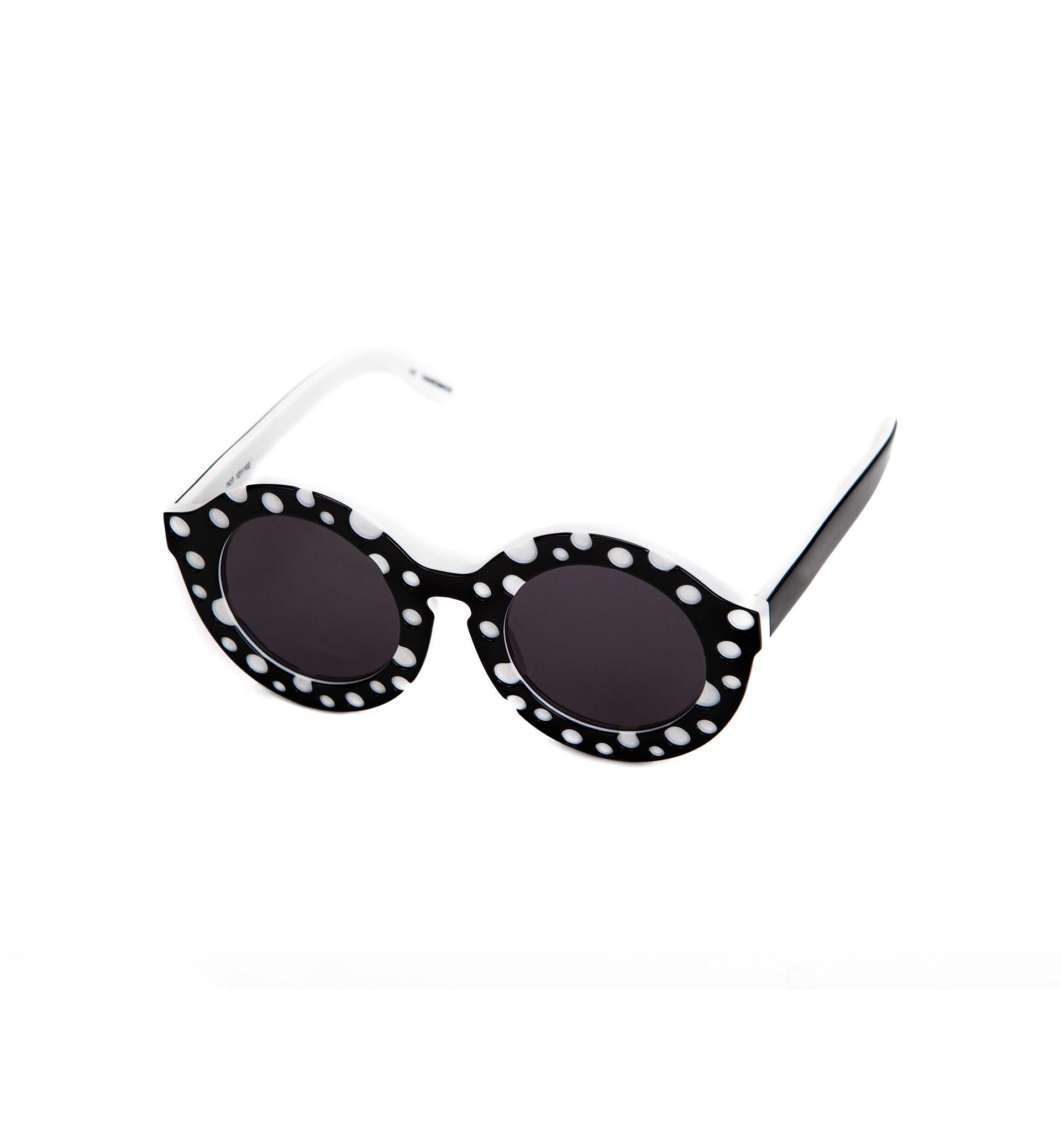 黑白波点边框眼镜